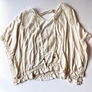 Knox Rose Boho Bohemian Lace Batwing top